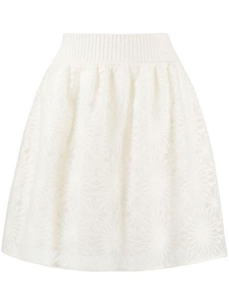 Белая с завышенной талией вязаная юбка мини Alberta Ferretti