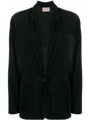 Пиджак черный замшевый Kenzo Pre-owned