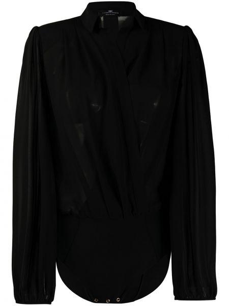Черная классическая рубашка с воротником с поясом с запахом Elisabetta Franchi