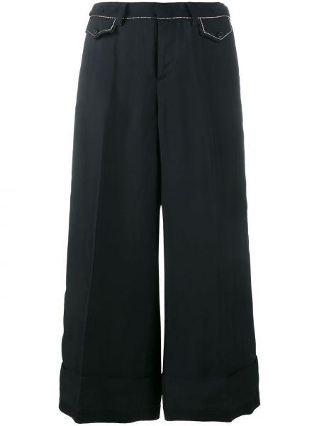 Черные укороченные брюки с карманами с отворотом N°21