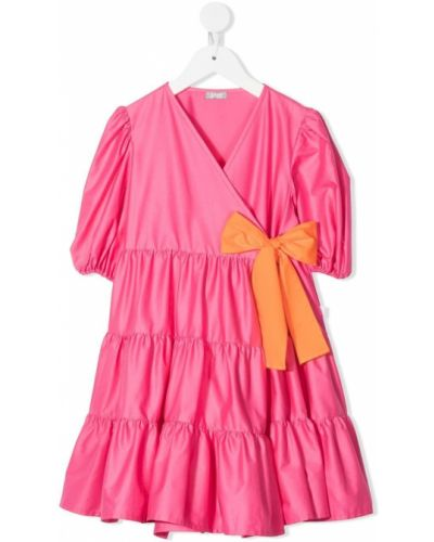 Różowa sukienka mini krótki rękaw bawełniana Il Gufo