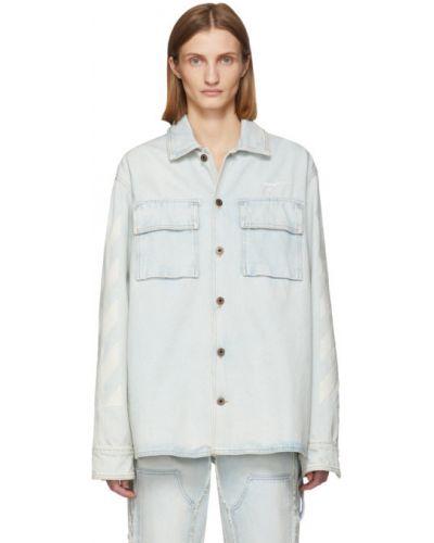 Biały z rękawami koszula jeansowa z mankietami z haftem Off-white