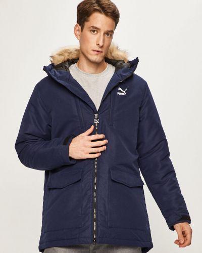 Утепленная куртка с капюшоном темно-синяя Puma