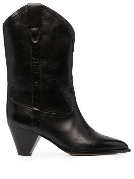 Czarne ankle boots skorzane kaskadowe Isabel Marant