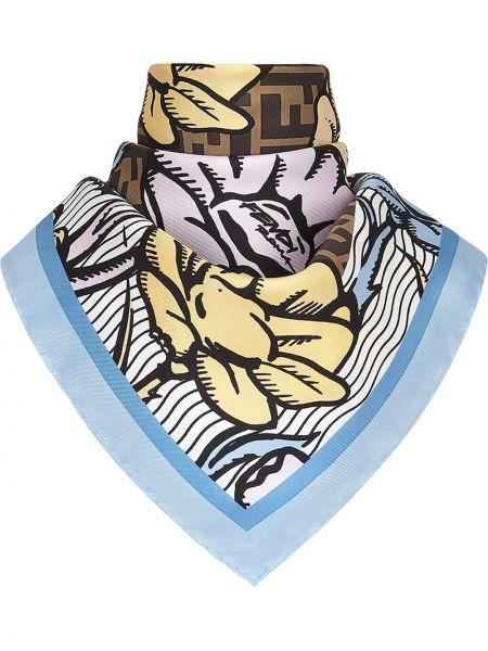 Jedwab niebieski szalik z logo Fendi