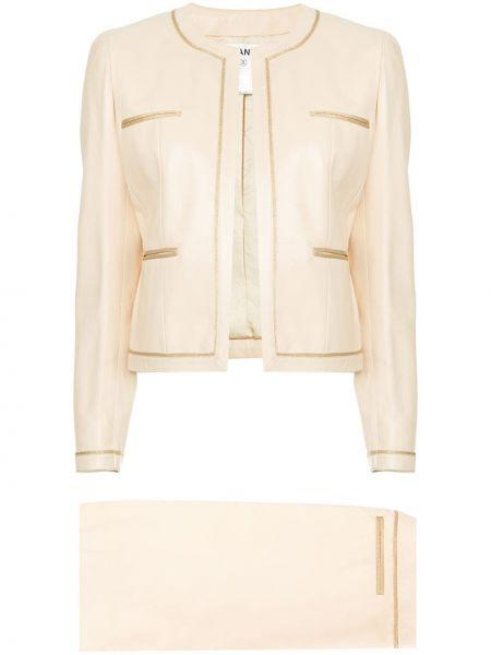 Бежевый костюмный костюм твидовый с карманами Chanel Pre-owned