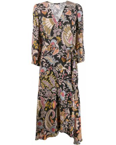 Платье миди на запах - черное Luisa Cerano