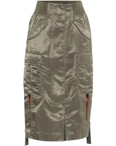 Нейлоновая зеленая юбка миди милитари Sacai