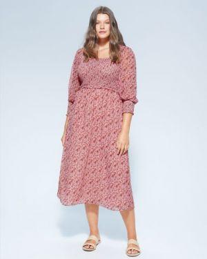 Платье миди с декольте с цветочным принтом Mango