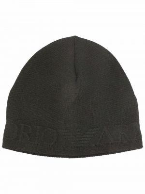 Шерстяная шапка бини - зеленая Emporio Armani