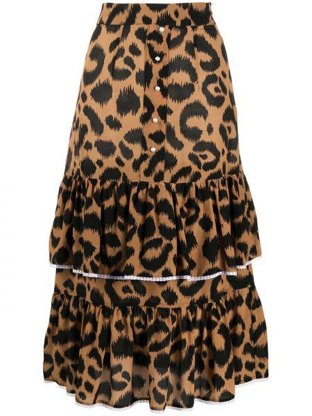 Черная нейлоновая юбка миди с оборками в рубчик Hayley Menzies
