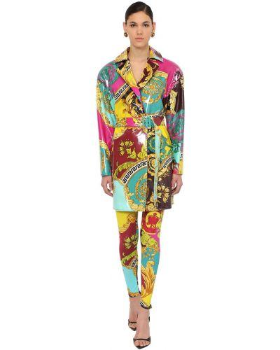 Куртка с поясом с воротником из вискозы Versace