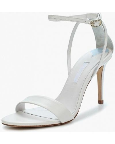 Босоножки на каблуке белые кожаные Topshop