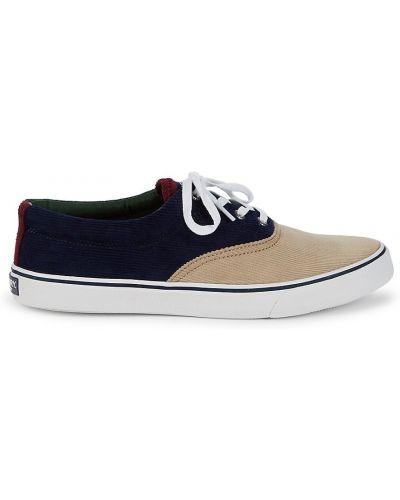 Sneakersy na platformie koronkowe sznurowane Sperry