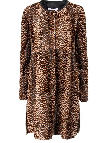 С рукавами кожаное пальто с вырезом с карманами круглое Gerard Darel