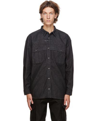 Czarny koszula dzinsowa z mankietami z kieszeniami z łatami Givenchy