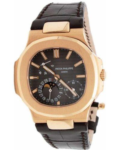 Золотистые кожаные часы золотые Patek Philippe