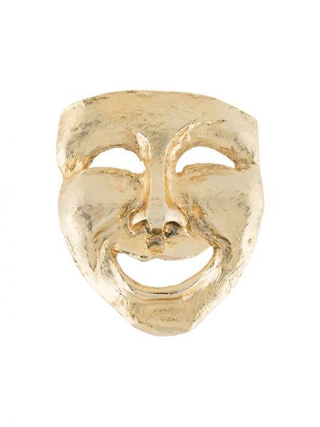 Золотистая желтая брошь позолоченная Moschino Pre-owned