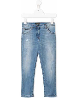 Синие кожаные выбеленные джинсы Dolce & Gabbana Kids