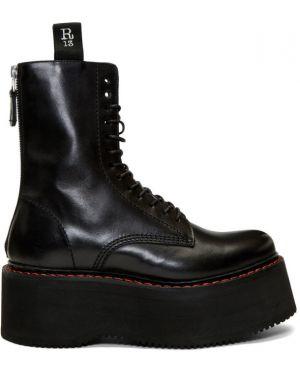 Ботинки на платформе черные на шнуровке R13