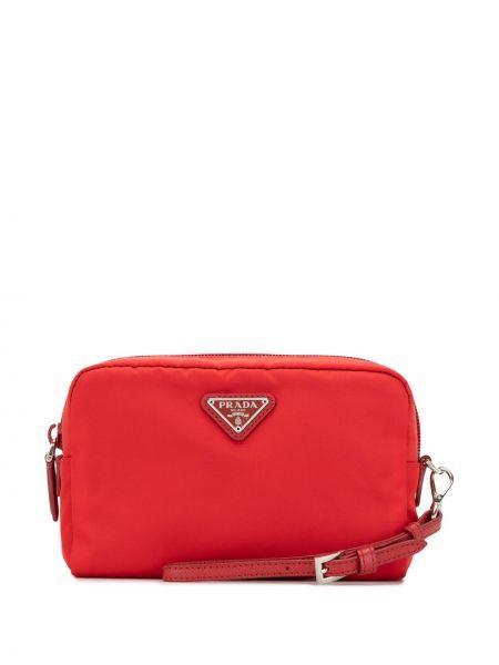 Красная косметичка металлическая с подкладкой на молнии Prada Pre-owned
