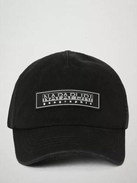 Хлопковая черная шапка с заплатками Napapijri