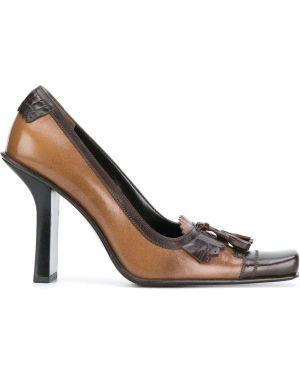 Коричневые лоферы на каблуке винтажные с бахромой Prada Pre-owned