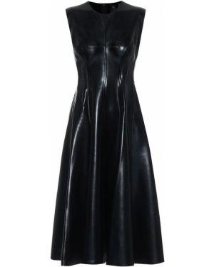 Платье миди на тонких бретелях кожаное Norma Kamali
