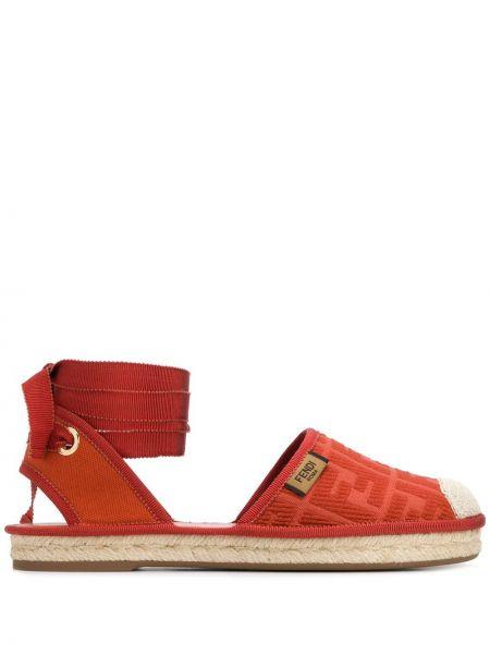 Плетеные кожаные эспадрильи на шнуровке Fendi