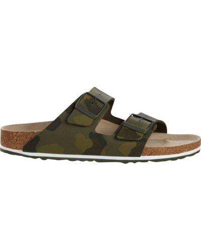 Sandały płaskie w paski - zielone Birkenstock