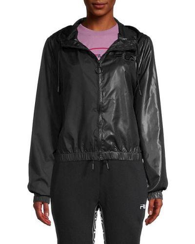 Черная длинная куртка с капюшоном на молнии Fila