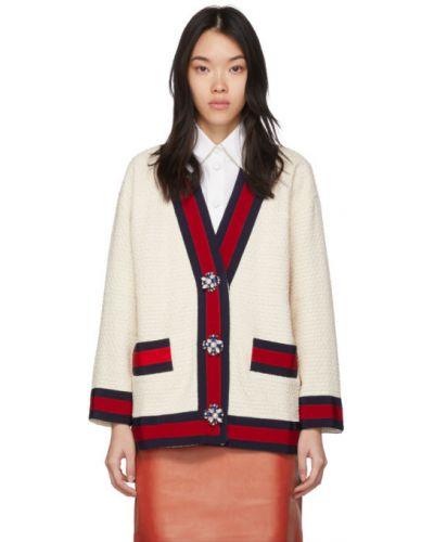 Белый кардиган оверсайз твидовый с карманами Gucci
