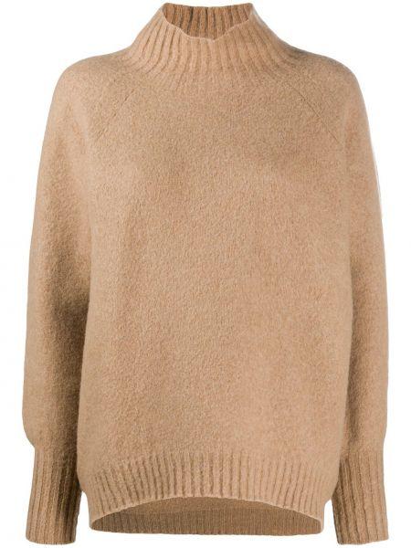 Коричневый вязаный свитер с воротником с рукавом реглан Drumohr