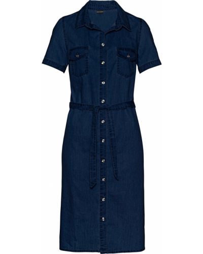 Джинсовое платье с поясом с карманами Bonprix