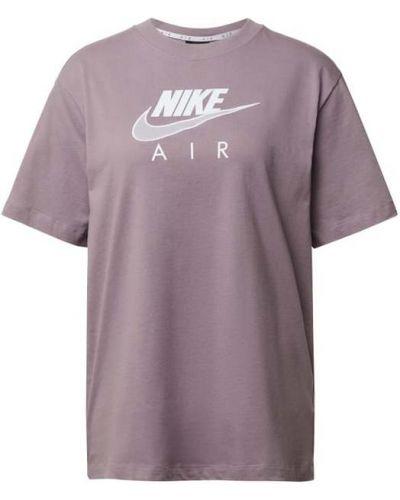 Fioletowy t-shirt bawełniany z printem Nike