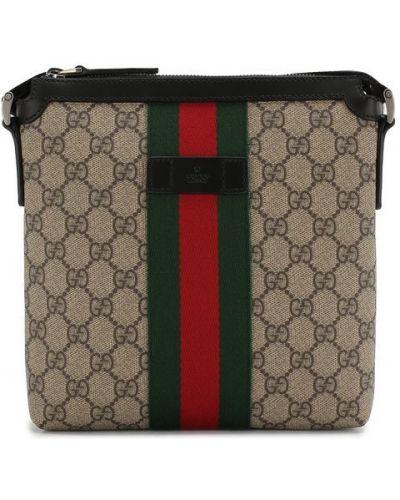 Кожаная сумка текстильная большого размера Gucci