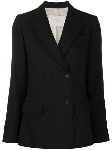 Шерстяной черный удлиненный пиджак двубортный Tela