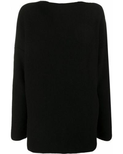 Шерстяной черный вязаный свитер с воротником Daniela Gregis