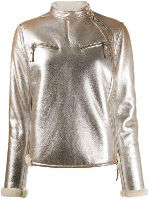 Серебряная куртка из овчины с подкладкой на молнии Gianfranco Ferre Pre-owned