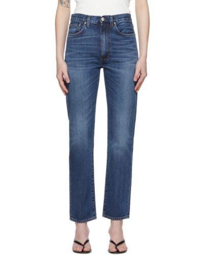 Niebieskie jeansy skorzane z paskiem Toteme