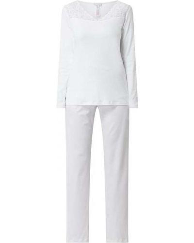 Biała spodni piżama bawełniana z długimi rękawami Hanro