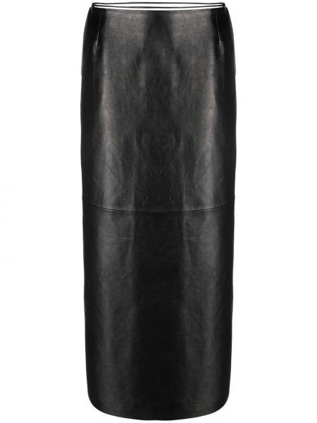 Прямая черная кожаная юбка Magda Butrym
