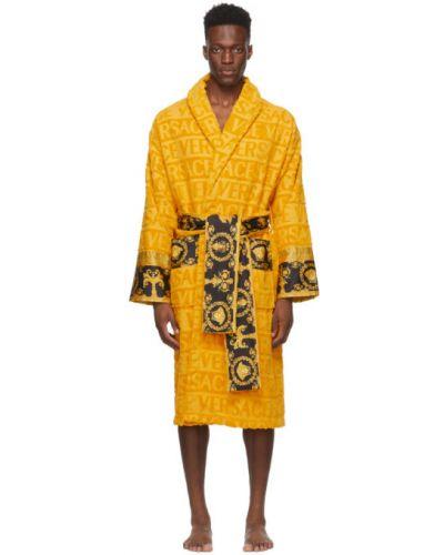 Черный хлопковый халат с поясом Versace
