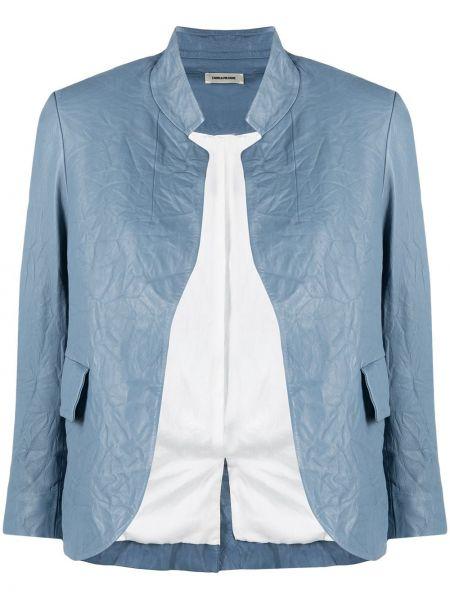 Синий кожаный пиджак со шлицей Zadig&voltaire