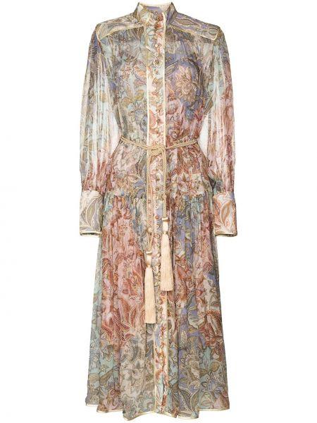 Шелковое платье в цветочный принт Zimmermann