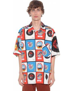 Драповая лаковая классическая рубашка с воротником с заплатками Botter