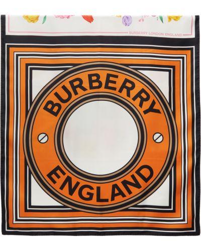 Czarny szalik z jedwabiu z printem Burberry
