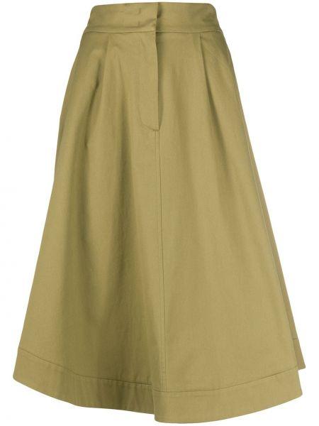 Хлопковая зеленая расклешенная юбка на резинке Tela