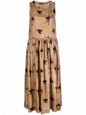 Бежевое платье с разрезом Uma Wang