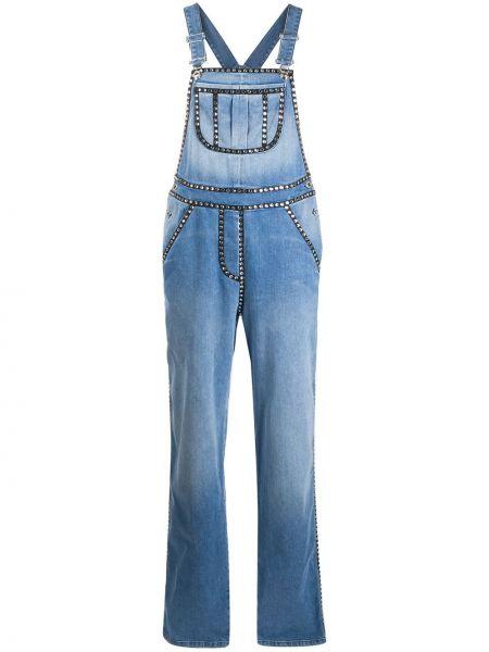 Хлопковый синий джинсовый комбинезон с карманами Moschino